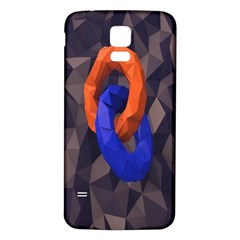 Low Poly Figures Circles Surface Orange Blue Grey Triangle Samsung Galaxy S5 Back Case (white)