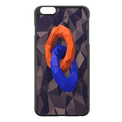 Low Poly Figures Circles Surface Orange Blue Grey Triangle Apple Iphone 6 Plus/6s Plus Black Enamel Case