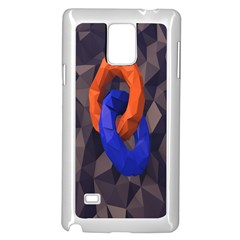Low Poly Figures Circles Surface Orange Blue Grey Triangle Samsung Galaxy Note 4 Case (white)