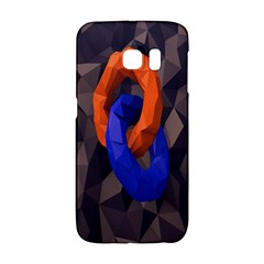 Low Poly Figures Circles Surface Orange Blue Grey Triangle Galaxy S6 Edge