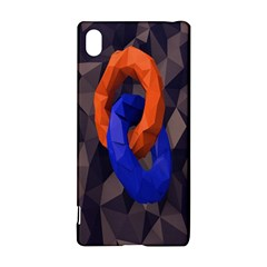 Low Poly Figures Circles Surface Orange Blue Grey Triangle Sony Xperia Z3+