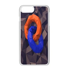 Low Poly Figures Circles Surface Orange Blue Grey Triangle Apple Iphone 7 Plus White Seamless Case