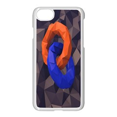 Low Poly Figures Circles Surface Orange Blue Grey Triangle Apple Iphone 7 Seamless Case (white)
