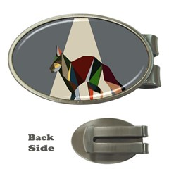 Nature Animals Artwork Geometry Triangle Grey Gray Money Clips (oval)