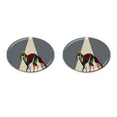 Nature Animals Artwork Geometry Triangle Grey Gray Cufflinks (oval)