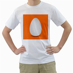 Orange White Egg Easter Men s T Shirt (white) (two Sided)