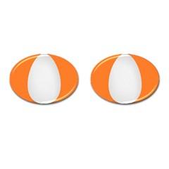 Orange White Egg Easter Cufflinks (oval)