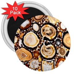 Natural Agate Mosaic 3  Magnets (10 Pack)