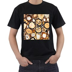 Natural Agate Mosaic Men s T Shirt (black) (two Sided)