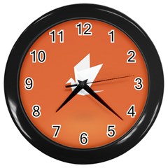 Origami Bird Animals White Orange Wall Clocks (black)
