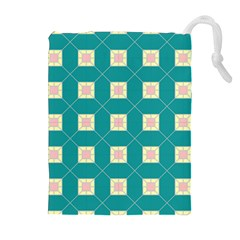 Regular Triangulation Plaid Blue Drawstring Pouches (extra Large)
