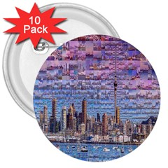 Auckland Travel 3  Buttons (10 Pack)