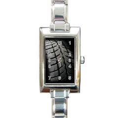 Auto Black Black And White Car Rectangle Italian Charm Watch