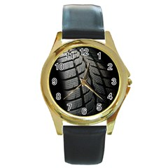 Auto Black Black And White Car Round Gold Metal Watch