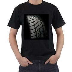 Auto Black Black And White Car Men s T Shirt (black) (two Sided)