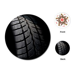 Auto Black Black And White Car Playing Cards (Round)