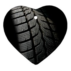 Auto Black Black And White Car Heart Ornament (Two Sides)
