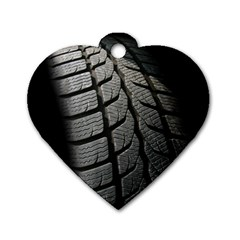 Auto Black Black And White Car Dog Tag Heart (One Side)
