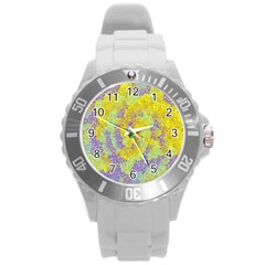Backdrop Background Abstract Round Plastic Sport Watch (L)