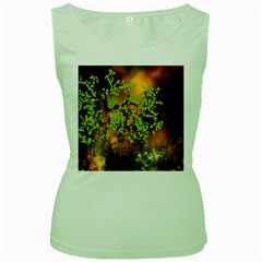 Backdrop Background Tree Abstract Women s Green Tank Top