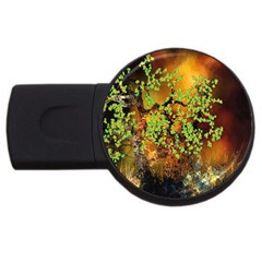 Backdrop Background Tree Abstract USB Flash Drive Round (2 GB)