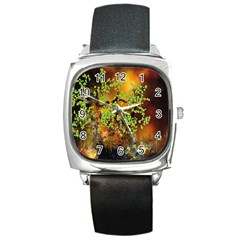 Backdrop Background Tree Abstract Square Metal Watch
