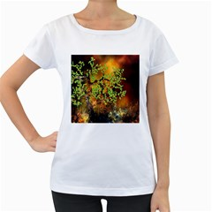 Backdrop Background Tree Abstract Women s Loose-Fit T-Shirt (White)