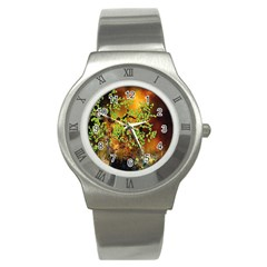 Backdrop Background Tree Abstract Stainless Steel Watch
