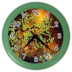Backdrop Background Tree Abstract Color Wall Clocks