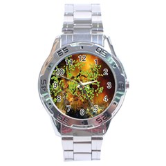 Backdrop Background Tree Abstract Stainless Steel Analogue Watch