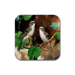 Backdrop Colorful Bird Decoration Rubber Coaster (square)