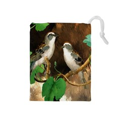 Backdrop Colorful Bird Decoration Drawstring Pouches (medium)