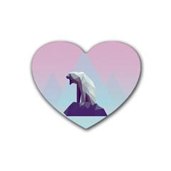Polar Bears Animals White Heart Coaster (4 Pack)