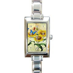 Backdrop Colorful Butterfly Rectangle Italian Charm Watch