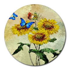 Backdrop Colorful Butterfly Round Mousepads
