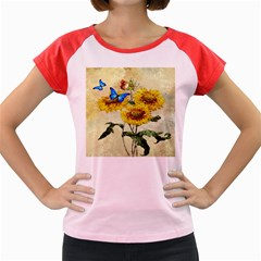 Backdrop Colorful Butterfly Women s Cap Sleeve T Shirt