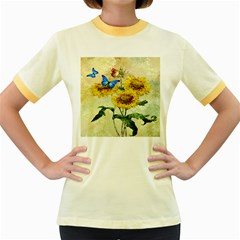 Backdrop Colorful Butterfly Women s Fitted Ringer T-Shirts