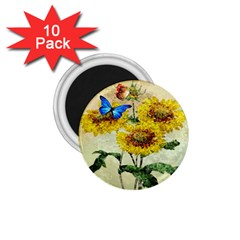 Backdrop Colorful Butterfly 1.75  Magnets (10 pack)