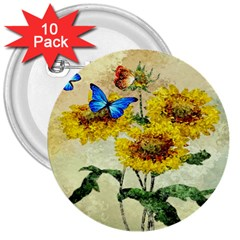 Backdrop Colorful Butterfly 3  Buttons (10 Pack)