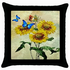 Backdrop Colorful Butterfly Throw Pillow Case (Black)