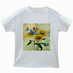 Backdrop Colorful Butterfly Kids White T Shirts