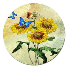 Backdrop Colorful Butterfly Magnet 5  (Round)
