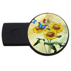 Backdrop Colorful Butterfly USB Flash Drive Round (1 GB)