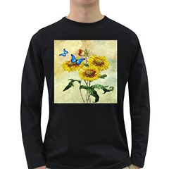 Backdrop Colorful Butterfly Long Sleeve Dark T-Shirts