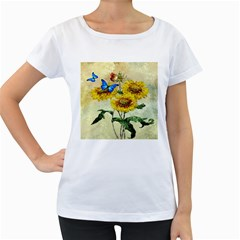 Backdrop Colorful Butterfly Women s Loose-Fit T-Shirt (White)