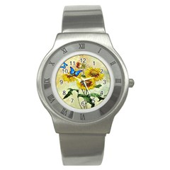 Backdrop Colorful Butterfly Stainless Steel Watch