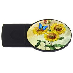 Backdrop Colorful Butterfly Usb Flash Drive Oval (4 Gb)