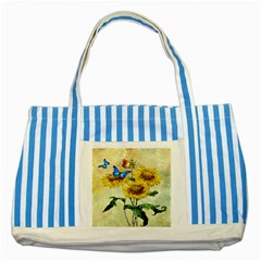 Backdrop Colorful Butterfly Striped Blue Tote Bag