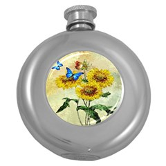 Backdrop Colorful Butterfly Round Hip Flask (5 oz)