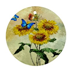 Backdrop Colorful Butterfly Round Ornament (Two Sides)